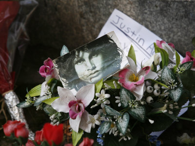 Jim Morrison's Grave at Pere Lachaise Cemetery, Paris, France, Europe Photographic Print by  Godong