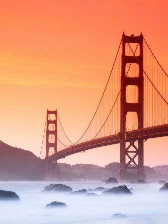 California, San Francisco, Golden Gate Bridge from Marshall Beach, USA Photographic Print by Alan Copson