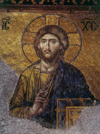 Head of Christ, Mosaic from Apse at Haghia Sophia Istanbul, 12th century AD Photographic Print