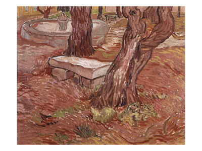Stone Bench in the Garden of St Paul Hospital, Saint-Remy, 1889 reproduction procédé giclée