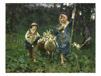 The Shepherdesses Giclee Print by Francesco Paolo Michetti