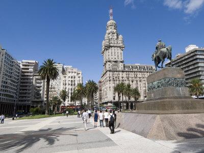 Palacio Salvo, on East Side of Plaza Independencia, Montevideo, Uruguay Photographic Print by Robert Harding