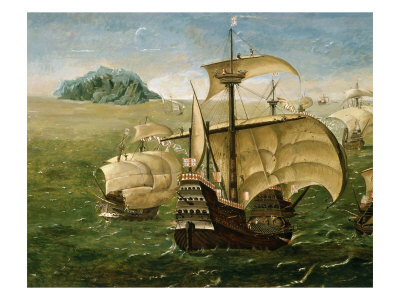 Portuguese Fleet in Early 16th century Giclee Print by  Anthoniszoon