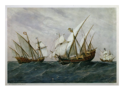 16th Century Caravels Giclee Print by Rafael Monleon Y Torres
