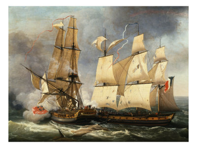 Engagement Between French Corvette La Bayonnaise and English Frigate The Ambush, 14 December 1798 Giclee Print by Jean-Francois Hue
