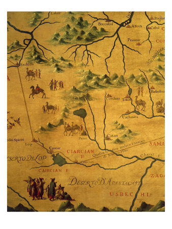 Uzbekistan Region, from Map of Asia Showing Route Taken by Marco Polo Giclee Print