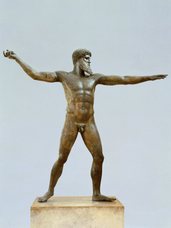 Poseidon, God of the Sea, Bronze, c. 460 BC Classical Greek, by Calamis Photographic Print