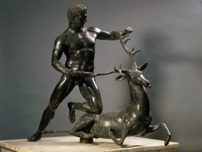 Herakles Wrestling the Hind of Ceryneia, One of his Twelve Labours, Bronze Photographic Print