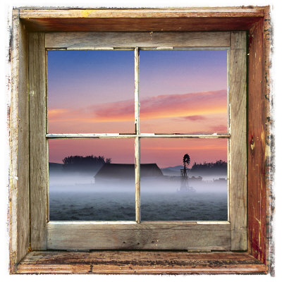 Farmyard Sunrise Viewed Through an Old Window Frame Photographic Print by Diane Miller