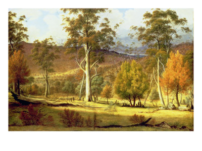 Natives in the Eucalypt Forest on Mills Plains, Patterdale Farm Giclee Print by John Glover