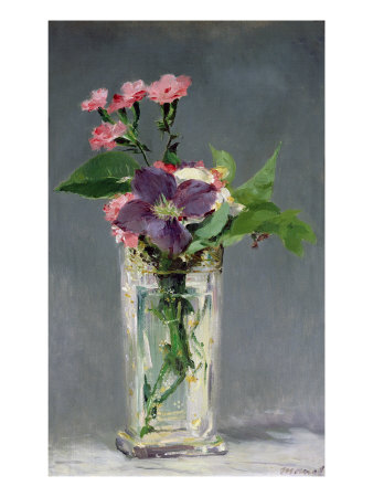 Pinks and Clematis in a Crystal Vase, c.1882 Giclee Print by Édouard Manet