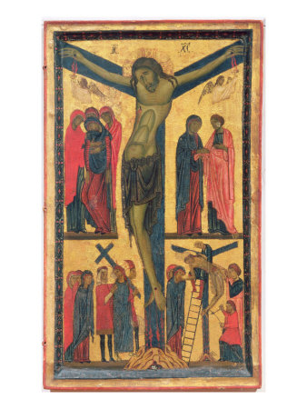 The Crucifixion with Holy Women, Mourners, Christ on the Road to Calvary and the Deposition, Right  Giclee Print by Bonaventura Berlinghieri