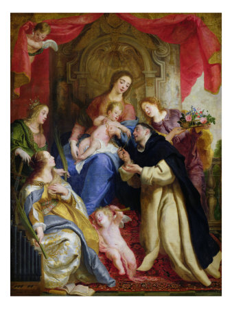 The Virgin Offering the Rosary to St. Dominic, 1641 Giclee Print by Gaspard de Crayer