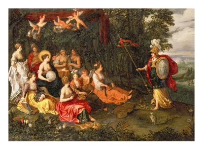 Minerva Visiting the Muses on Mount Helicon Giclee Print by Hans Jordaens III