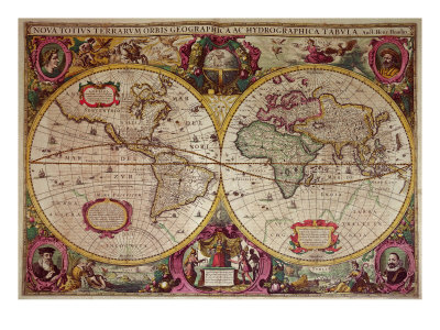 A New Land and Water Map of the Entire Earth, 1630 Giclee Print by Henricus Hondius