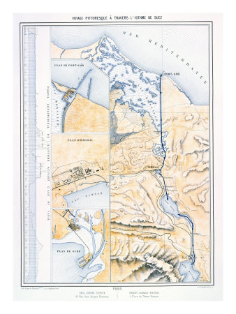 Map of the Suez Canal, c.1870 Giclee Print by A. Le Bealle