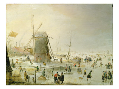 A Winter Scene with Skaters by a Windmill Giclee Print by Hendrik Avercamp