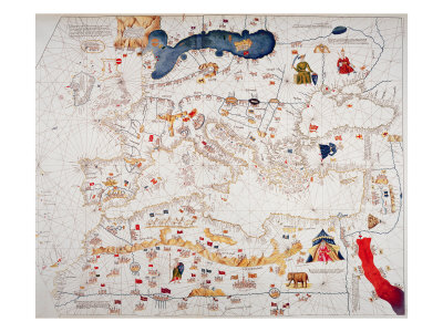 Copy of Catalan Map of Europe, North Africa and the Middle East Giclee Print by Abraham Cresques