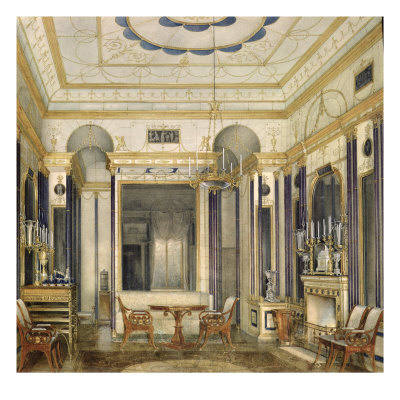 The Drawing Room of the Empress Maria Alexandrovna in the Great Palais in Tsarskoye Selo Giclee Print by Eduard Hau