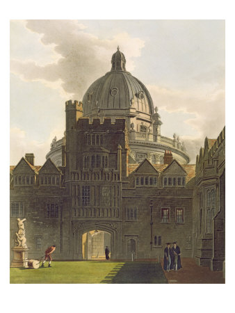 Exterior of Brasenose College and Radcliffe Library, Illustration from the 'History of Oxford' Giclee Print by Augustus Charles Pugin