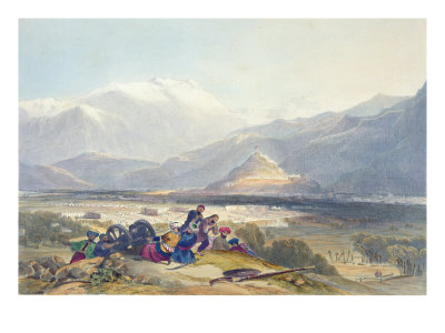 Bala Hissar and City of Kabul with the British Cantonments from the Ba Maroo Hill Giclee Print by James Rattray
