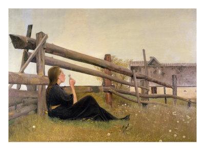 June, Girl Blowing Dandelion Seeds, 1899 Gicléetryck av Laurits Andersen Ring