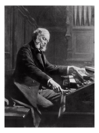 Cesar Franck at the Console of the Organ at St. Clotilde Basilica, Paris, 1885 Giclee Print by Jeanne Rongier