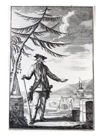 Captain Teach, Commonly Called Blackbeard, C.1734 Giclee Print by Thomas Nicholls