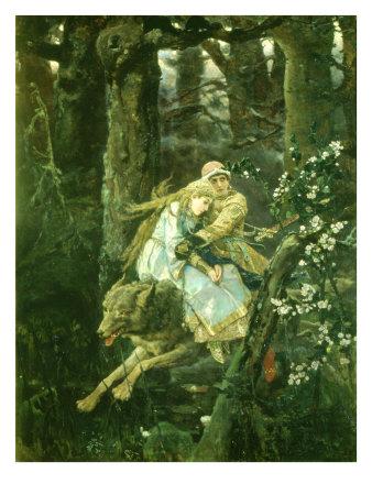 Ivan Tsarevich Riding the Grey Wolf, 1889 Giclee Print by Victor Mikhailovich Vasnetsov