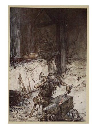 Mime at the anvil, illustration from 'Siegfried and the Twilight of the Gods', 1924 Giclee Print by Arthur Rackham