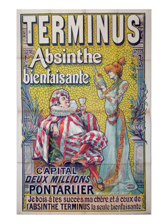 Poster advertising 'Terminus' absinthe, starring Sarah Bernhardt and Constant Coquelin Giclee Print by Francisco Tamagno
