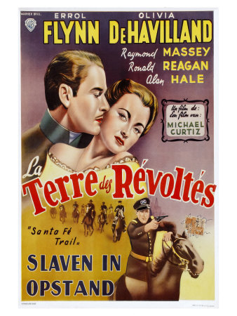 Santa Fe Trail, Belgian Movie Poster, 1940 Print