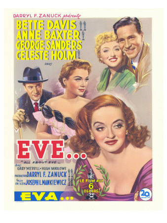 All About Eve, Belgian Movie Poster, 1950 Plakater