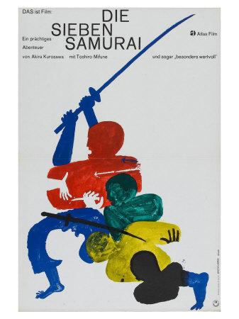 Seven Samurai, German Movie Poster, 1954 Plakater