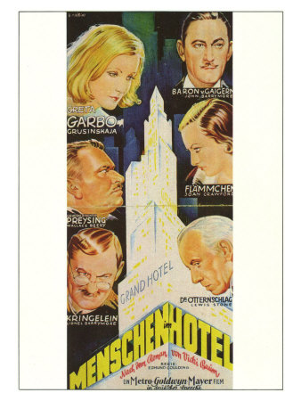 Grand Hotel, German Movie Poster, 1932 Print