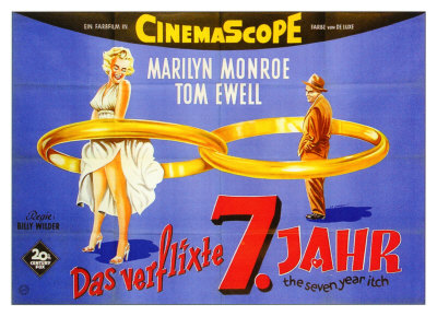 The Seven Year Itch, German Movie Poster, 1955 Giclée-Druck