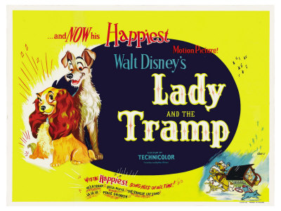 Lady and the tramp 1955 vintage movie poster cover art; one of Disney's greatest movies of all time