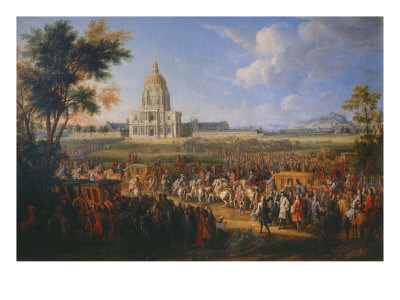 Visit of King Louis XIV at the Hotel Royal des Invalides on July 14, 1701 Giclee Print by Pierre-Denis Martin