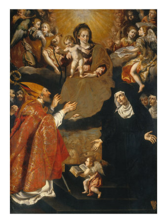 The Virgin Giving her Girdle to St. Augustin and St. Monica Giclee Print by Bernardino Santini