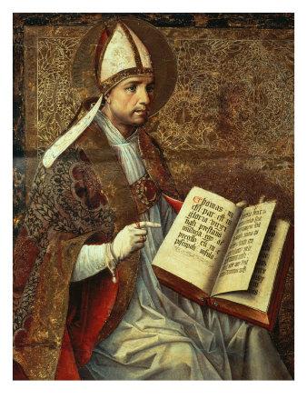 San Tomaso Altarpiece - detail (Saint Augustine) Giclée-tryk af Pedro Berruguete