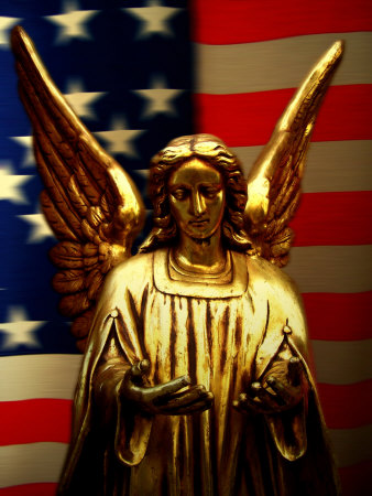 Angel with America Flag as the Background Photographic Print
