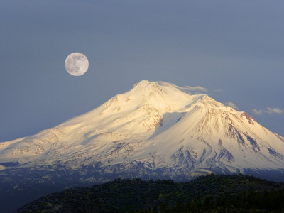 Winter View of Mt. Shasta, in Northern Ca, with Full Moon Rising Photographic Print by Diane Miller