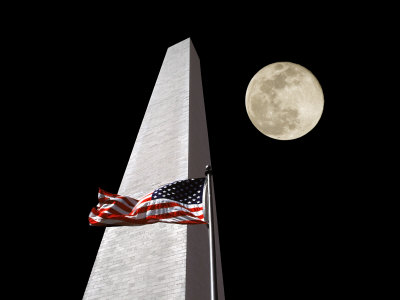Collage of the Washington Monument, American Flag, and Moon Photographic Print by Diane Miller
