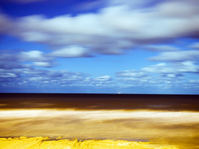 Sea and Empty Beach in at Night, Blackpool, England, Uk Photographic Print by Kevin Walsh