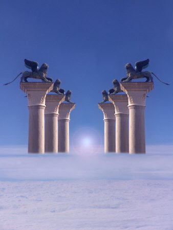 Winged Lions on Columns Above the Clouds Photographic Print by Abdul Kadir Audah