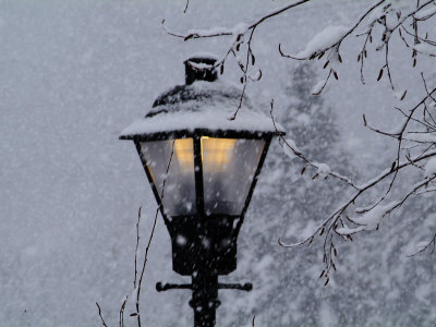 Lamp Post in the Evening Snow Photographic Print by John Churchman