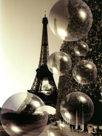 The Eiffel Tower with Bubbles Fotografisk tryk