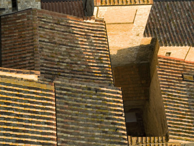 Terracotta Rooftops Above a Maze of Small Streets Fotografiskt tryck