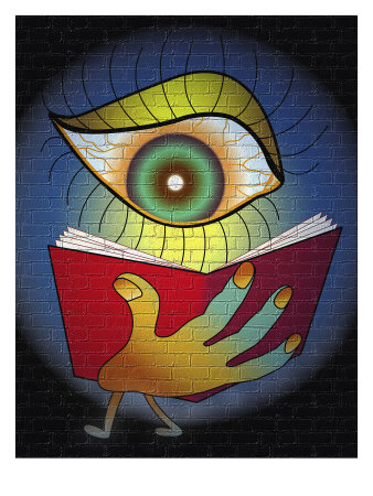 Human eye reading a book - illustration