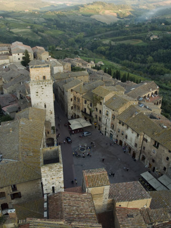 Square in Siena and the Tuscan Countryside Beyond Photographic Print by Annie Griffiths Belt